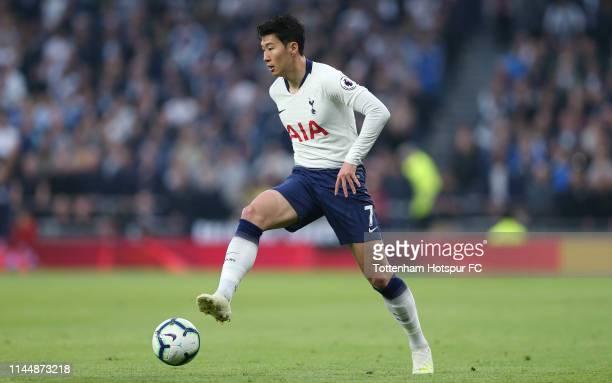 HeungMin Son of Tottenham Hotspur during the Premier League match between Tottenham Hotspur and Brighton Hove Albion at Tottenham Hotspur Stadium on...
