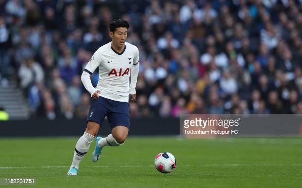 HeungMin Son of Tottenham Hotspur during the Premier League match between Tottenham Hotspur and Watford FC at Tottenham Hotspur Stadium on October 19...