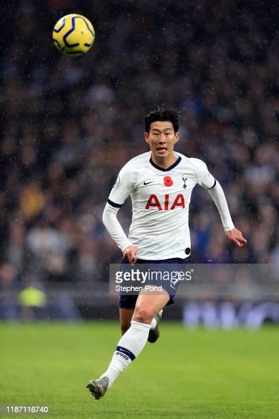 HeungMin Son of Tottenham Hotspur during the Premier League match between Tottenham Hotspur and Sheffield United at Tottenham Hotspur Stadium on...