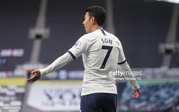 Heung-Min Son of Tottenham Hotspur during the Premier League match between Tottenham Hotspur and West Ham United at Tottenham Hotspur Stadium on June...