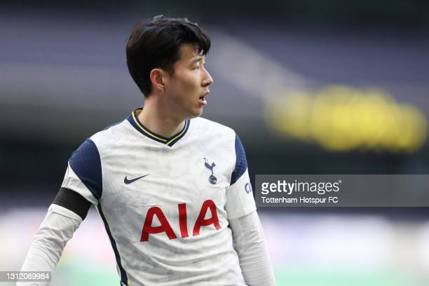 Heung-Min Son of Tottenham Hotspur during the Premier League match between Tottenham Hotspur and Manchester United at Tottenham Hotspur Stadium on...