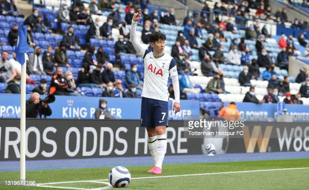 Heung-Min Son of Tottenham Hotspur during the Premier League match between Leicester City and Tottenham Hotspur at The King Power Stadium on May 23,...