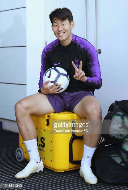 Heung-Min Son of Tottenham Hotspur during the Tottenham Hotspur training session at Tottenham Hotspur Training Centre on September 27, 2018 in...