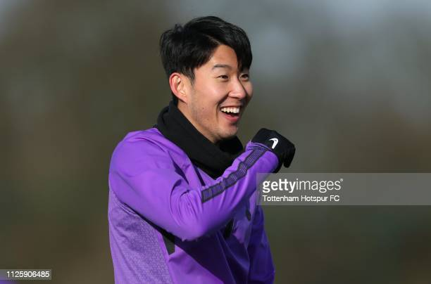 HeungMin Son of Tottenham Hotspur during the Tottenham Hotspur training session at Tottenham Hotspur Training Centre on January 29 2019 in Enfield...