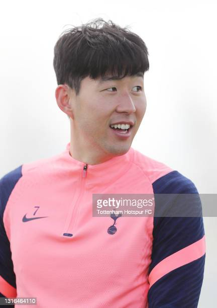 Heung-Min Son of Tottenham Hotspur during the Tottenham Hotspur training session at Tottenham Hotspur Training Centre on May 05, 2021 in Enfield,...