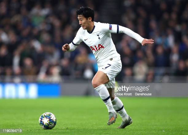 HeungMin Son of Tottenham Hotspur during the UEFA Champions League group B match between Tottenham Hotspur and Olympiacos FC at Tottenham Hotspur...