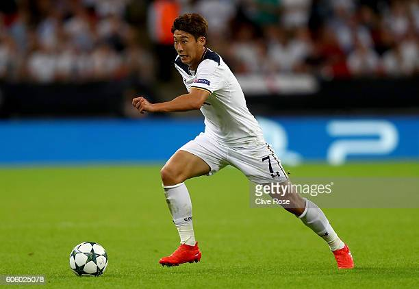 HeungMin Son of Tottenham Hotspur during the UEFA Champions League match between Tottenham Hotspur FC and AS Monaco FC at Wembley Stadium on...