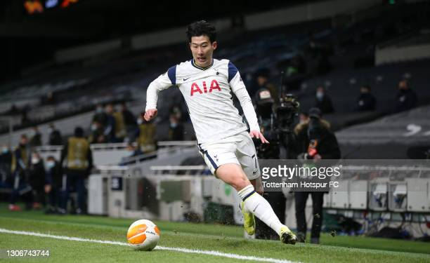 Heung-Min Son of Tottenham Hotspur during the UEFA Europa League Round of 16 First Leg match between Tottenham Hotspur and Dinamo Zagreb at Tottenham...