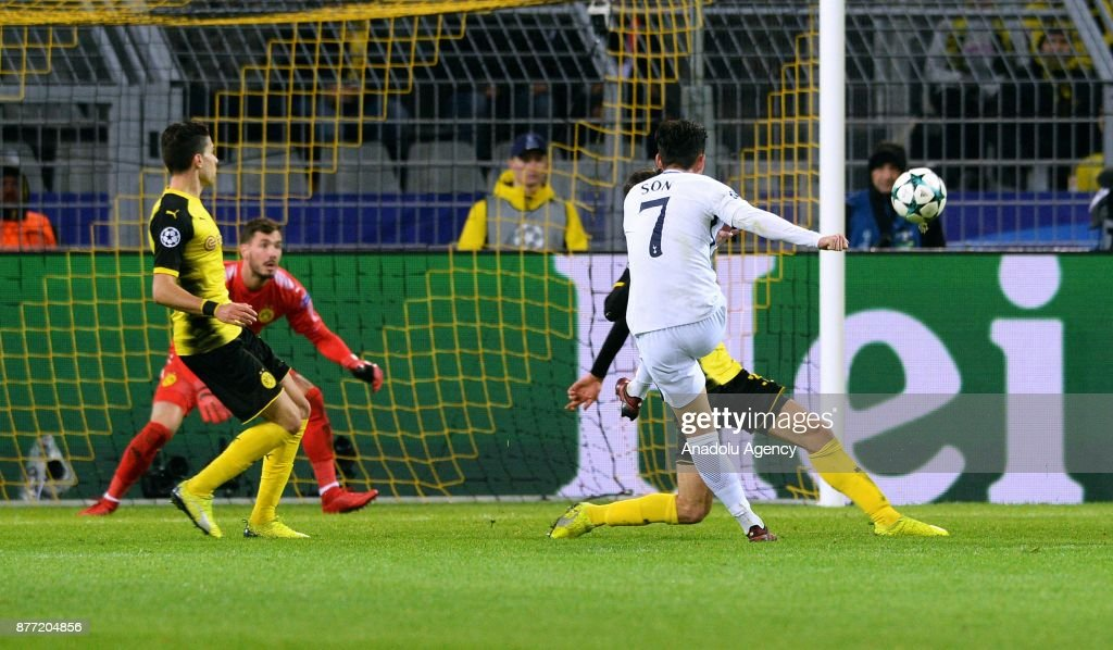 Heung-Min Son (R) of Tottenham Hotspur FC in action during the UEFA Champions League Group H soccer match between Borussia Dortmund and Tottenham Hotspur FC at the Signal-Iduna Park in Dortmund, Germany on November 21, 2017.
