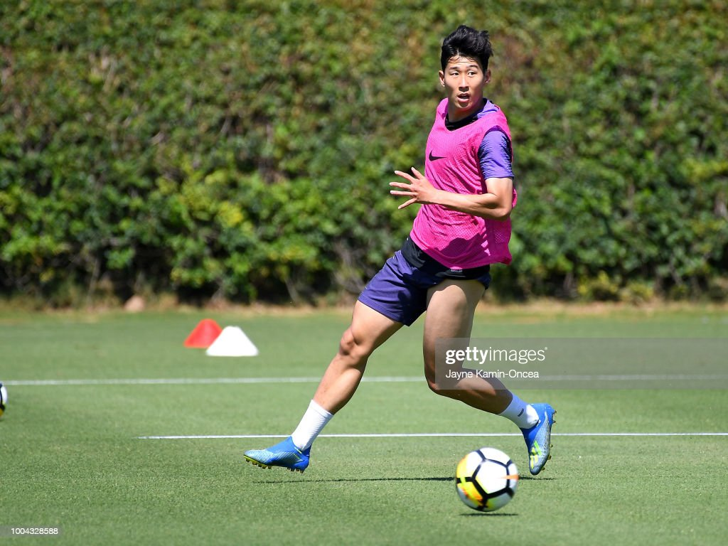 Heung-Min Son of Tottenham Hotspur FC practices at Loyola Marymount University on July 23, 2018 in Playa del Rey, California.