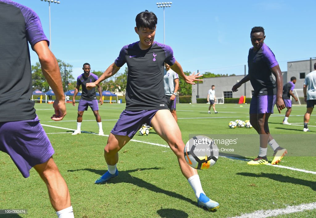 Heung-Min Son #7 of Tottenham Hotspur FC practices at Loyola Marymount University on July 23, 2018 in Playa del Rey, California.