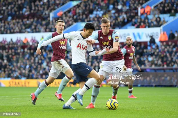 Heung-Min Son of Tottenham Hotspur goes past Bjorn Engels of Aston Villa during the Premier League match between Aston Villa and Tottenham Hotspur at...