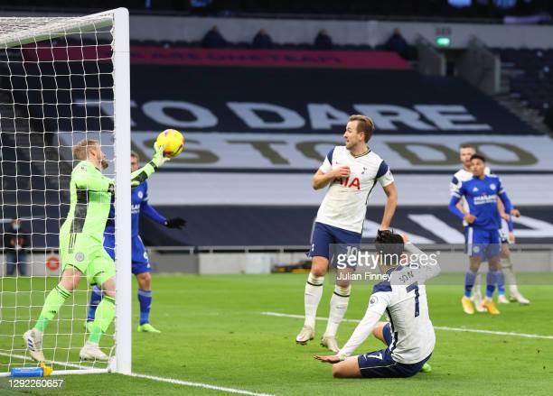Heung-Min Son of Tottenham Hotspur has a shot saved by Kasper Schmeichel of Leicester City during the Premier League match between Tottenham Hotspur...