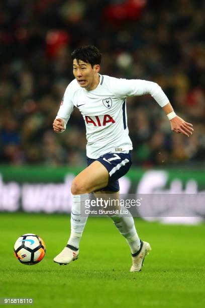 HeungMin Son of Tottenham Hotspur in action during the Emirates FA Cup Fourth Round Replay between Tottenham Hotspur and Newport County at Wembley...