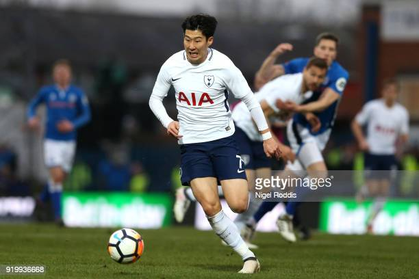 HeungMin Son of Tottenham Hotspur in action during The Emirates FA Cup Fifth Round match between Rochdale and Tottenham Hotspur on February 18 2018...
