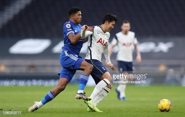 Heung-Min Son of Tottenham Hotspur in action during the Premier League match between Tottenham Hotspur and Leicester City at Tottenham Hotspur...