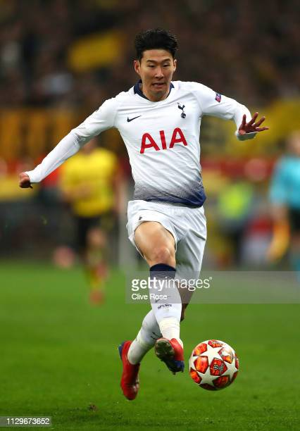 HeungMin Son of Tottenham Hotspur in action during the UEFA Champions League Round of 16 First Leg match between Tottenham Hotspur and Borussia...