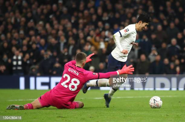 Heung-Min Son of Tottenham Hotspur is brought down in the area by Angus Gunn of Southampton which leads to a penalty awarded to Tottenham Hotspur...