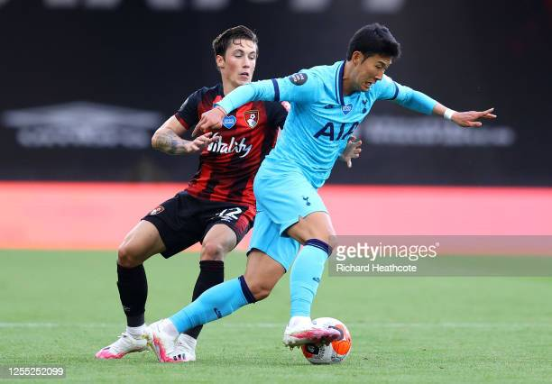 HeungMin Son of Tottenham Hotspur is challenged by Harry Wilson of AFC Bournemouth during the Premier League match between AFC Bournemouth and...