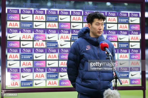 Heung-Min Son of Tottenham Hotspur is interviewed after the final whistle during the Premier League match between Tottenham Hotspur and Manchester...