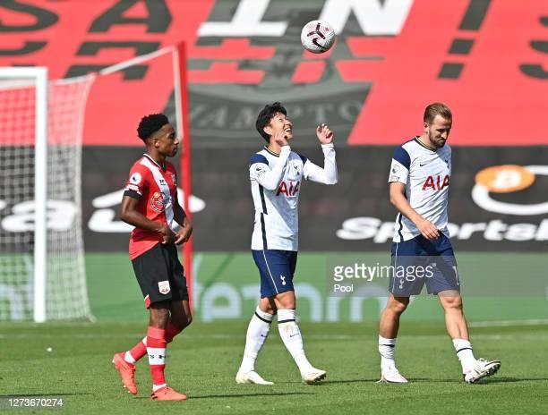 HeungMin Son of Tottenham Hotspur is seen post match with the match ball having scored 4 goals during the Premier League match between Southampton...