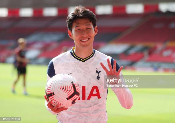 Heung-Min Son of Tottenham Hotspur is seen post match with the match ball having scored 4 goals during the Premier League match between Southampton...