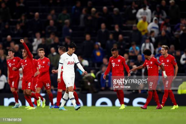 Heung-Min Son of Tottenham Hotspur looks dejected following his sides defeat in the UEFA Champions League group B match between Tottenham Hotspur and...