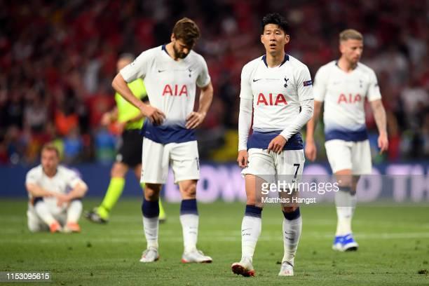 HeungMin Son of Tottenham Hotspur looks dejected following the UEFA Champions League Final between Tottenham Hotspur and Liverpool at Estadio Wanda...