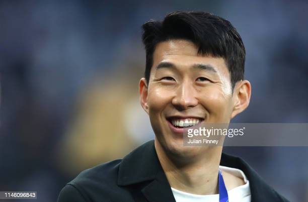 HeungMin Son of Tottenham Hotspur looks on prior to the UEFA Champions League Semi Final first leg match between Tottenham Hotspur and Ajax at at the...
