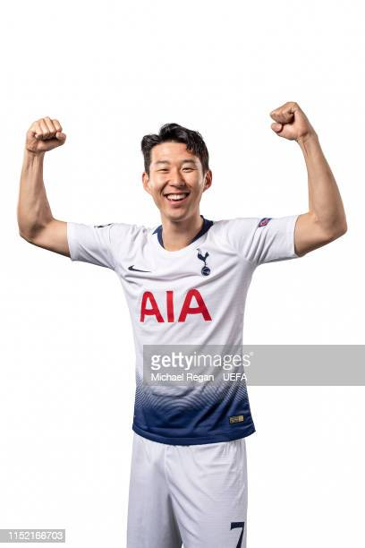 This image was digitally altered HeungMin Son of Tottenham Hotspur poses for a photo during the Tottenham Hotspur UEFA Champions League Final Preview...