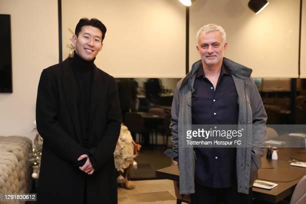 Heung-Min Son of Tottenham Hotspur poses for a photo with Jose Mourinho, Head Coach of Tottenham Hotspur as he wins the FIFA Puskas award at the FIFA...