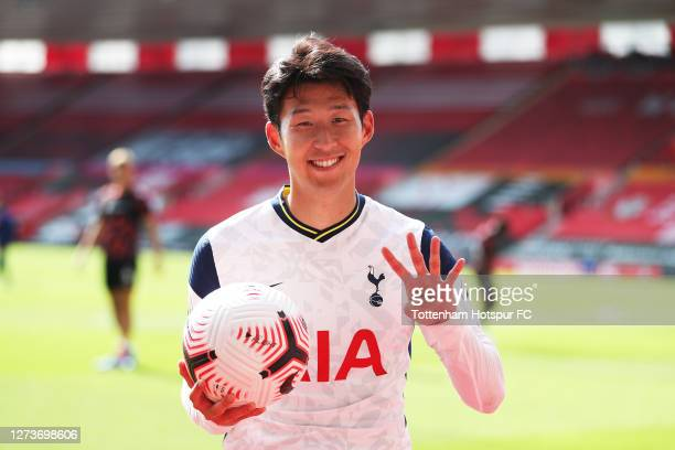 Heung-Min Son of Tottenham Hotspur poses for a photograph post match with the match ball having scored 4 goals during the Premier League match...