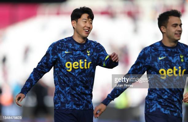 Heung-Min Son of Tottenham Hotspur reacts as he warms up prior to the Premier League match between West Ham United and Tottenham Hotspur at London...