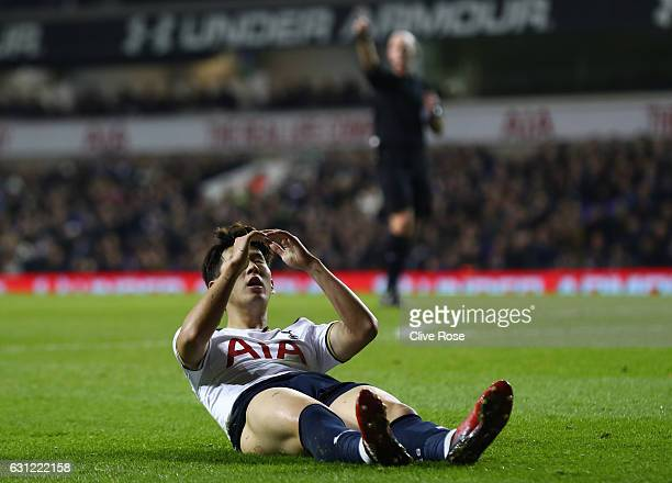 HeungMin Son of Tottenham Hotspur reacts during The Emirates FA Cup Third Round match between Tottenham Hotspur and Aston Villa at White Hart Lane on...