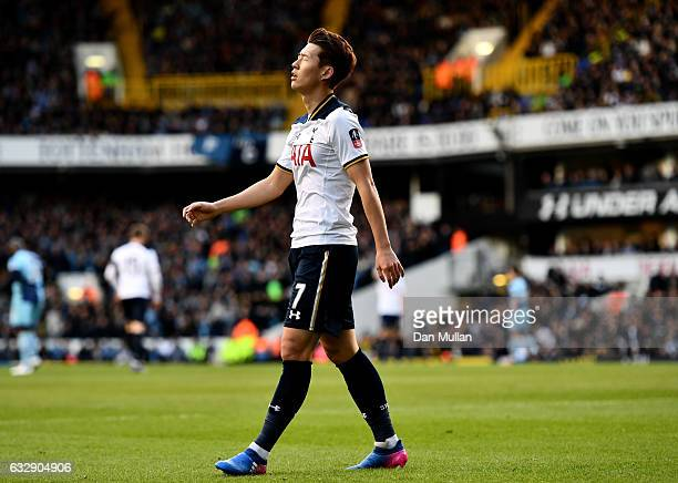 HeungMin Son of Tottenham Hotspur reacts during the Emirates FA Cup Fourth Round match between Tottenham Hotspur and Wycombe Wanderers at White Hart...