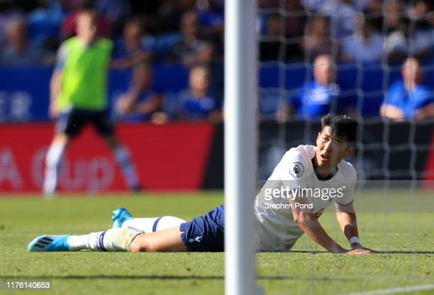 HeungMin Son of Tottenham Hotspur reacts during the Premier League match between Leicester City and Tottenham Hotspur at The King Power Stadium on...