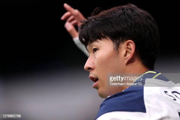 HeungMin Son of Tottenham Hotspur reacts during the Premier League match between Tottenham Hotspur and Newcastle United at Tottenham Hotspur Stadium...