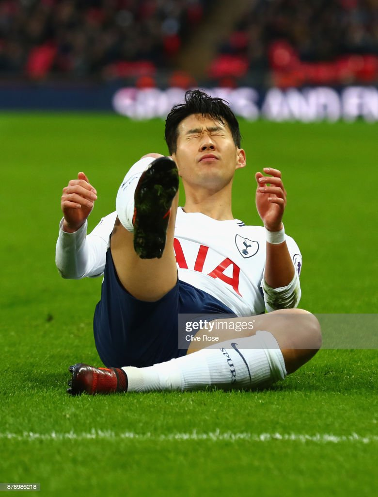Heung-Min Son of Tottenham Hotspur reacts during the Premier League match between Tottenham Hotspur and West Bromwich Albion at Wembley Stadium on November 25, 2017 in London, England.