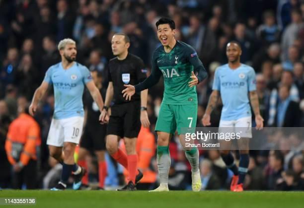 HeungMin Son of Tottenham Hotspur reacts during the UEFA Champions League Quarter Final second leg match between Manchester City and Tottenham...