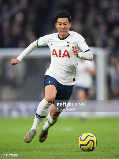 HeungMin Son of Tottenham Hotspur runs with the ball during the Premier League match between Tottenham Hotspur and AFC Bournemouth at Tottenham...