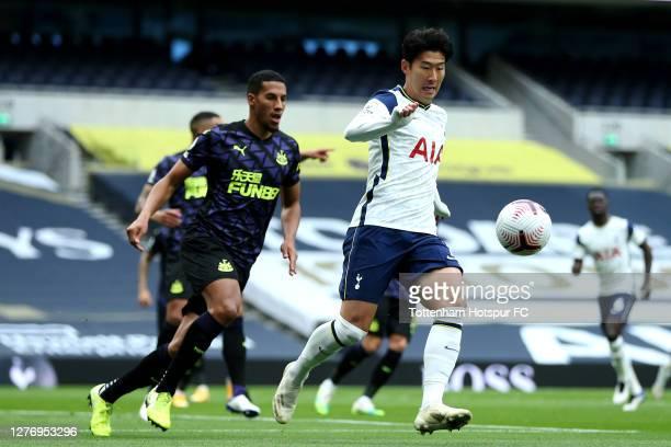 HeungMin Son of Tottenham Hotspur runs with the ball during the Premier League match between Tottenham Hotspur and Newcastle United at Tottenham...