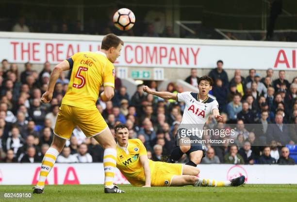Heung-Min Son of Tottenham Hotspur scores his ides second goal during The Emirates FA Cup Quarter-Final match between Tottenham Hotspur and Millwall...