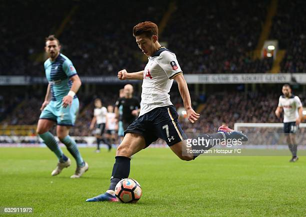 HeungMin Son of Tottenham Hotspur scores his sides first goal during the Emirates FA Cup Fourth Round match between Tottenham Hotspur and Wycombe...