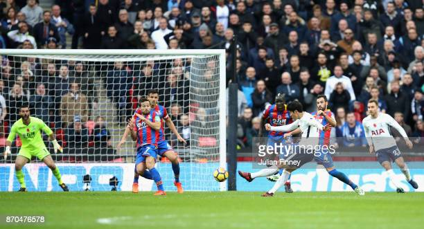 HeungMin Son of Tottenham Hotspur scores his sides first goal during the Premier League match between Tottenham Hotspur and Crystal Palace at Wembley...