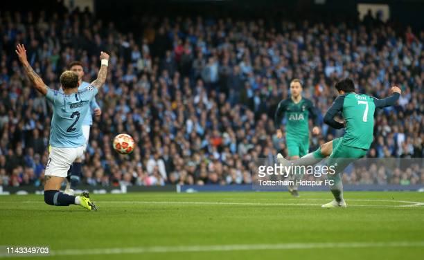 Heung-Min Son of Tottenham Hotspur scores his sides second goal during the UEFA Champions League Quarter Final second leg match between Manchester...