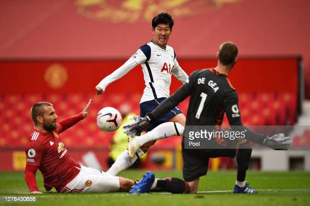 Heung-Min Son of Tottenham Hotspur scores his sides second goal during the Premier League match between Manchester United and Tottenham Hotspur at...