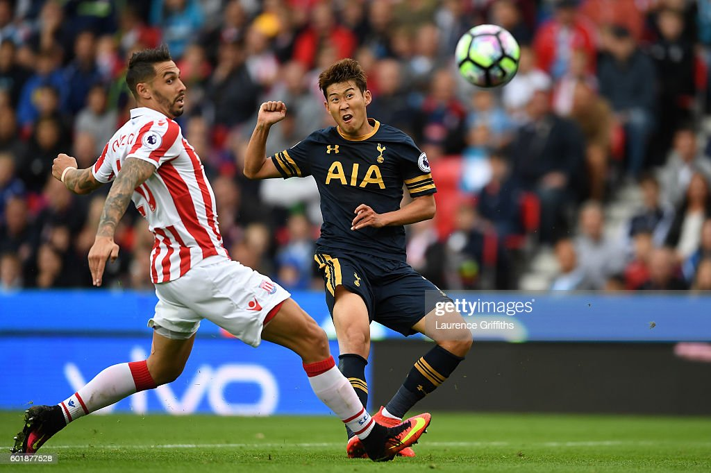 Heung-Min Son of Tottenham Hotspur scores his sides second goal during the Premier League match between Stoke City and Tottenham Hotspur at Britannia Stadium on September 10, 2016 in Stoke on Trent, England.