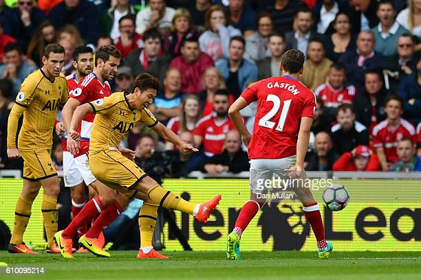 HeungMin Son of Tottenham Hotspur scores his sides second goal during the Premier League match between Middlesbrough and Tottenham Hotspur at the...