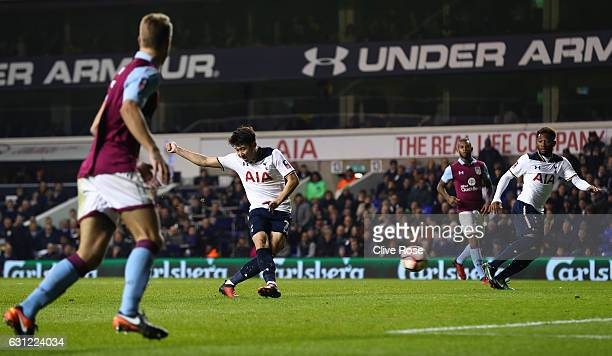 HeungMin Son of Tottenham Hotspur scores his sides second goal during The Emirates FA Cup Third Round match between Tottenham Hotspur and Aston Villa...