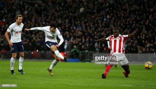 Heung-Min Son of Tottenham Hotspur scores his sides second goal during the Premier League match between Tottenham Hotspur and Stoke City at Wembley...